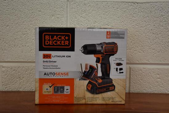 Black and Decker 20V Lithium Ion drill.