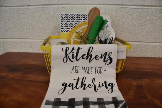 Kitchen gift basket to include, wood spoons, decor
