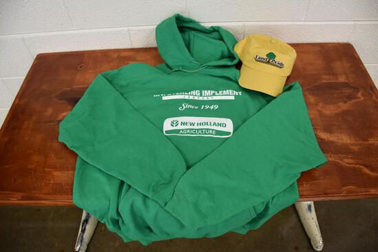 Mt Sterling Implement Company (New Holland) XL Hoodie and Land Pride hat