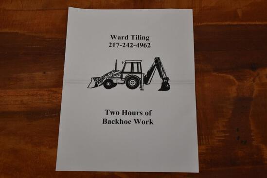 2 Hours of Backhoe work from Ward Tiling