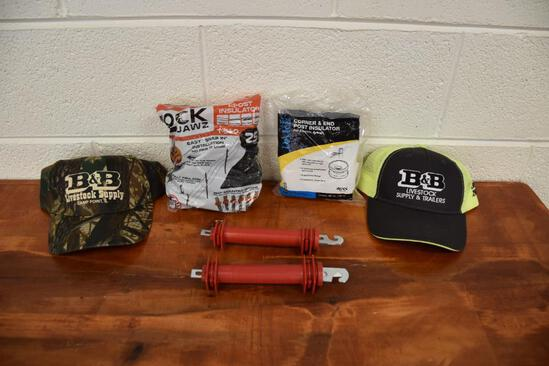 Hot wire fencing equipment and B&B Livestock Supply hats