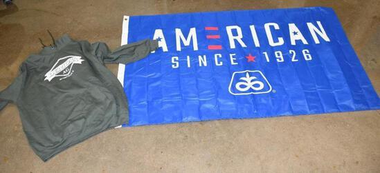 Pioneer American flag and a 2xl DeMoss Ag. Hooded sweatshirt