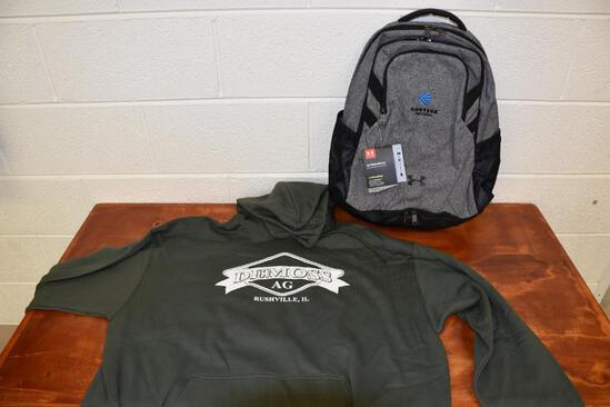 Corteva Agri science (Under Armour) book bag, DeMoss 2xl hooded sweatshirt