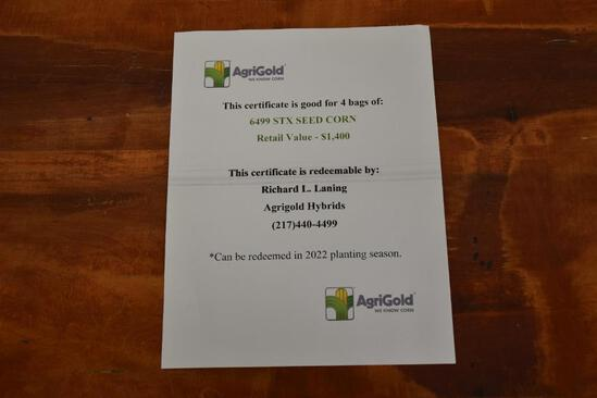 Certificate for 4 bags of AgriGold 6499 STX Seed Corn
