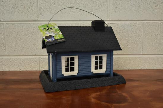 Village Collection Blue Cottage plastic bird feeder