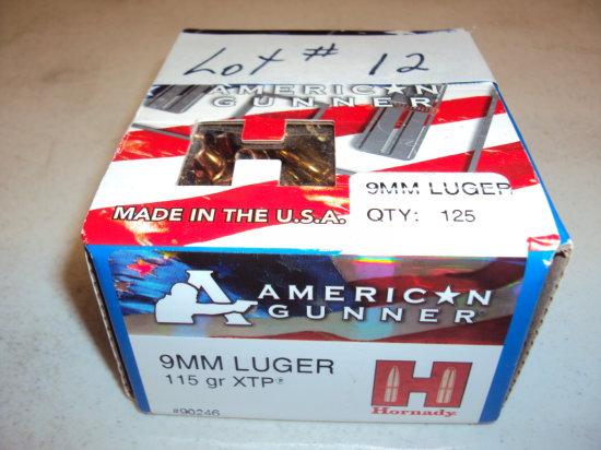 1 BX HORNADY 9MM HP AMMO (125 RDS)