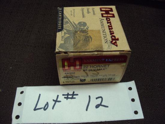 1 BOX HORADAY 22 HORNET AMMO