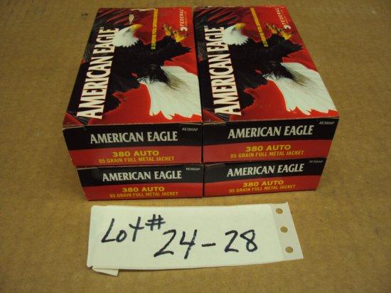 200 ROUNDS FEDERAL AMERICAN EAGLE 380 AMMO NIB