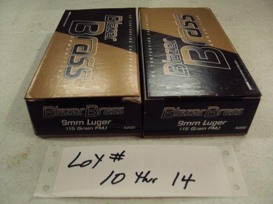 2 BOXES CCI BLAZER 9MM AMMO NIB