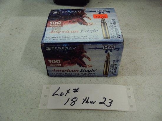 100 ROUNDS FEDERAL AMERICAN EAGLE 556 AMMO NIB