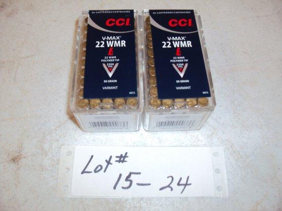 2 BOXES CCI 22WMR V-MAX  #0073 - NIB