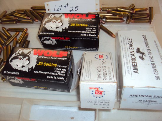 APPROX. 260 ROUNDS OF 30 CARBINE AMMO