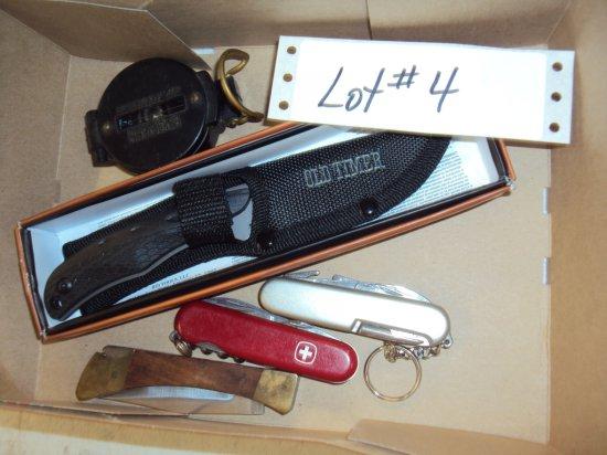 BOX LOT - 4 KNIVES, COMPASS