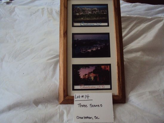 THREE SCENES, CHARLESTON SC WITH WOOD FRAME