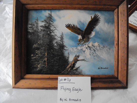 FLYING EAGLE, PAINTED CANVAS BY W. ARMADIS WITH RUSTIC WOOD FRAME