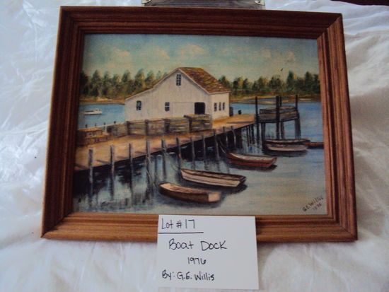 BOAT DOCK, PAINTED CANVAS BY G.E. WILLIS, 1976 WITH WOOD FRAME, WICKFORD, RI