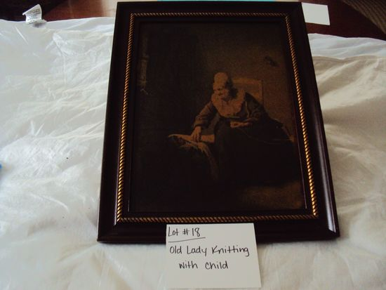 OLD LADY WITH BABY KNITTING, NO MARKINGS WITH WOOD FRAME