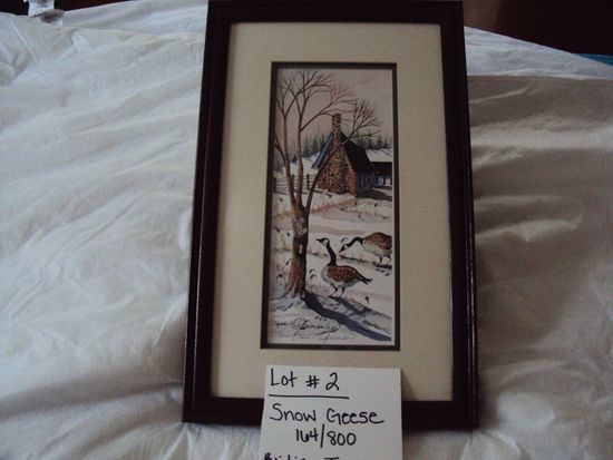 SNOW GEESE, 164/800, BY LISA JEIMEN WITH WOOD FRAME
