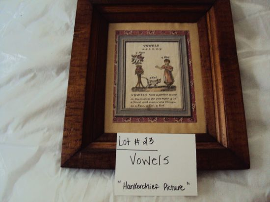 VOWELS, HANDKERCHIEF PICTURE WITH RUSTIC WOOD FRAME