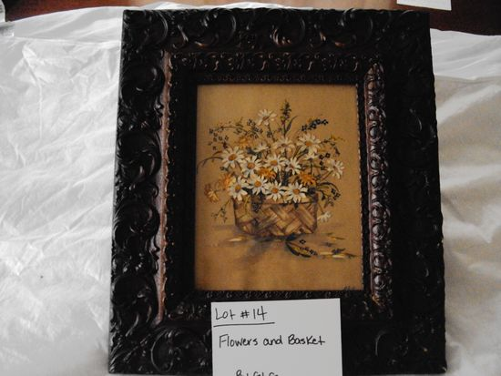 """FLOWERS & A BASKET BY GLG WITH WOOD WALNUT FRAME """"CUT OUT DAISYS  HANDPAINTED AND REATTACHED FOR PIC"""
