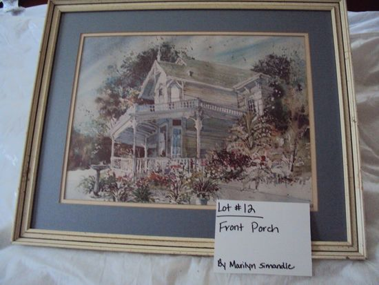 FRONT PORCH BY MARILYN SIMANDLE WITH TAN WOOD FRAME