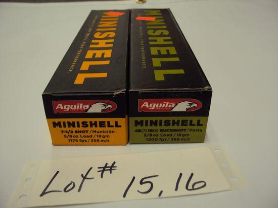 2 BOXES 12G MINI SHELLS, BUCKSHOT & 7 1/2 NIB
