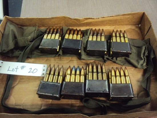 64 ROUNDS 30.06 MILITARY CLIPPED AMMO & POUCH
