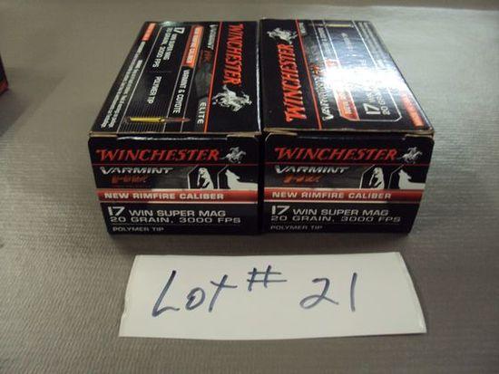 2 BOXES WINCHESTER 17 WIN SUPER MAG