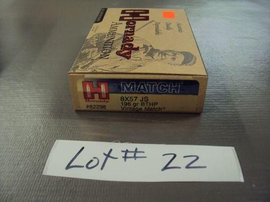 1 BOX HORNADAY 8X57 MATCH AMMO