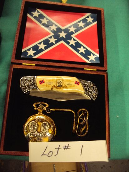 ROBERT E LEE COMMEMORATIVE KNIFE AND POCKET WATCH IN BOX