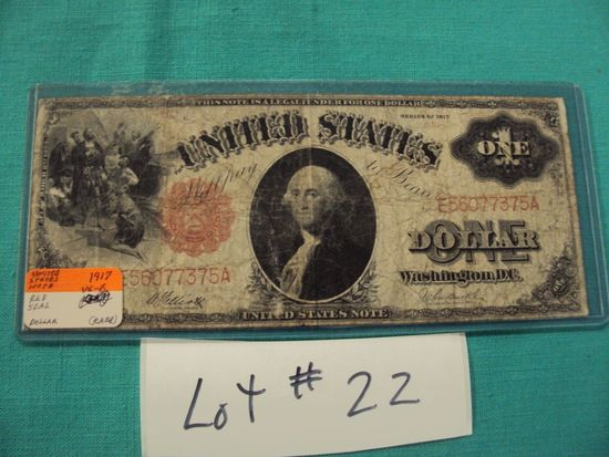 1917 U.S. NOTE RED SEAL $1 - HARD TO FIND