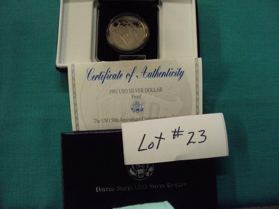 1991 USO SILVER COIN