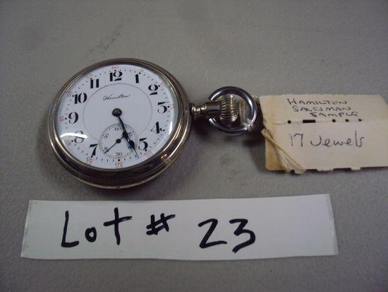 HAMILTON 17 JEWEL POCKET WATCH, TRAVELING SALESMAN SAMPLE, WORKS!