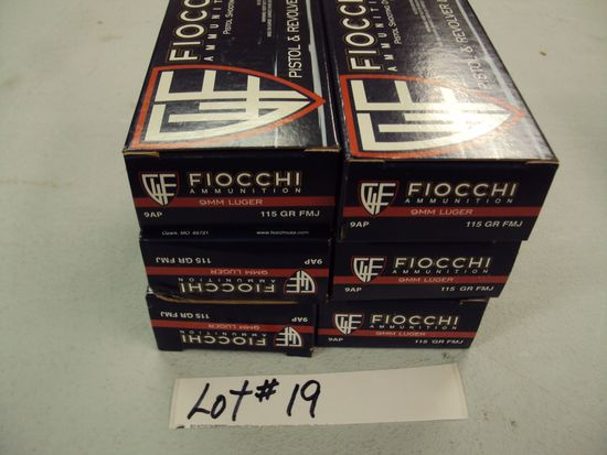 300 ROUNDS OF FIOCCHI 9MM AMMO FMJ - NIB