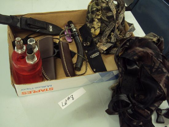 TRAY LOT OF MISC. SAFETY HARNESS, SHEATHS, DEER CALL, AND MORE