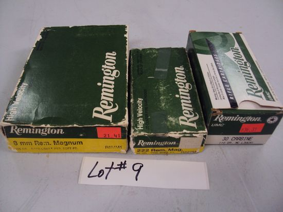 3 MISC. BOXES OF AMMO - 30 CARBINE, 8MM, 222