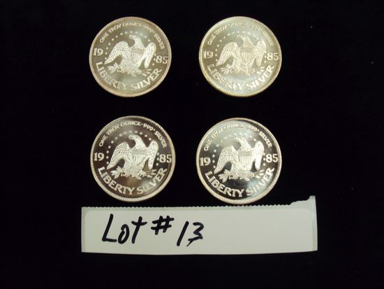 LOT OF 4 - 1985 SILVER COINS - ONE TROY OUNCE SILVER EACH - MULTIPLY YOUR BID BY 4