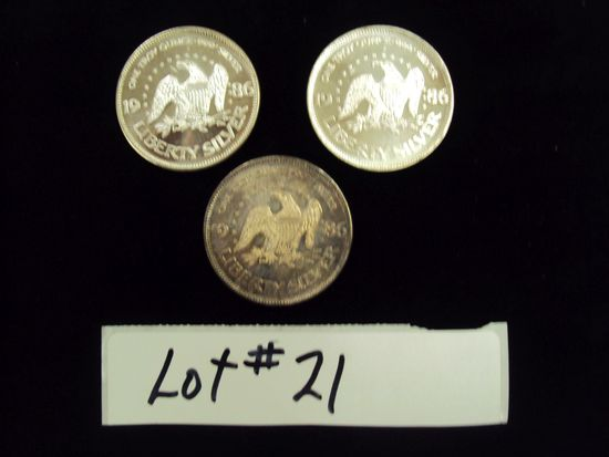 LOT OF 3 - 1986 SILVER COINS - ONE TROY OUNCE SILVER EACH - MULTIPLY YOUR BID BY 3