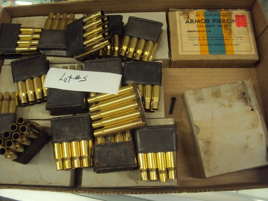 TRAY LOT MISC M1 SHELLS. SOME EMPTY