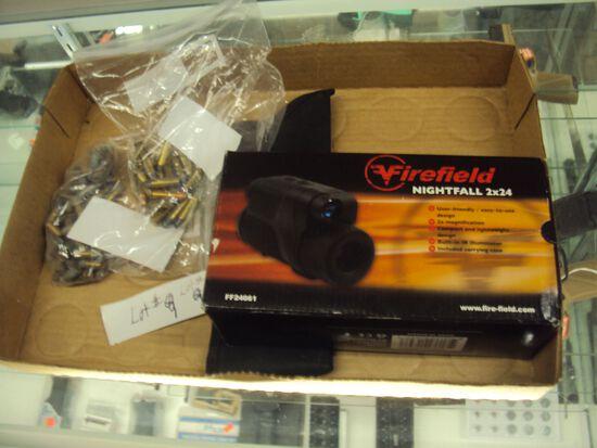 TRAY LOT MISC. FIREFIELD NIGHTFALL 2X24  NIGHT VISION MONOCULAR & AMMO
