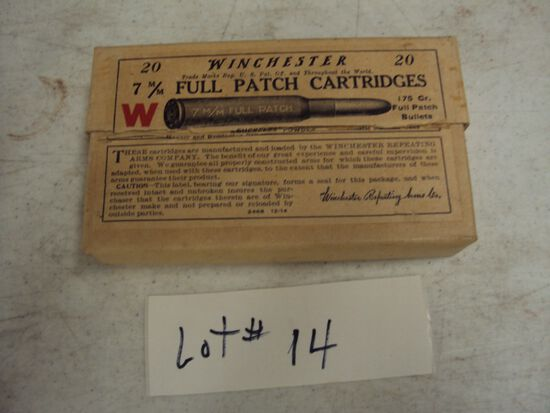 1 OLD BOX OF WINCHESTER 7MM FULL PATCH CARTRIDGES