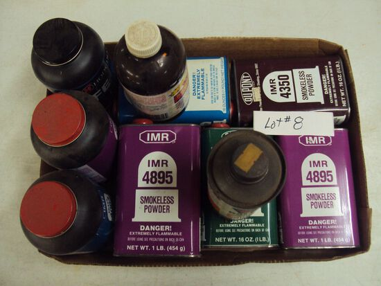 TRAY LOT OF MISC. POWDER FOR RELOADING, MOST FULL