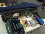 ASSORTMENT OF CLEANING ITEMS, GUN CASE AND DUFFLE BAG