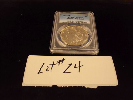 1903-O MORGAN SILVER DOLLAR - CLEANED, UNCIRCULATED, VERY NICE