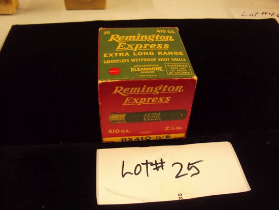 OLD BOX OF REMINGTON EXPRESS 410 SHELLS,  BOX IS FULL