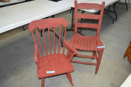 Childs Rocking Chair and Ladder Back Chair