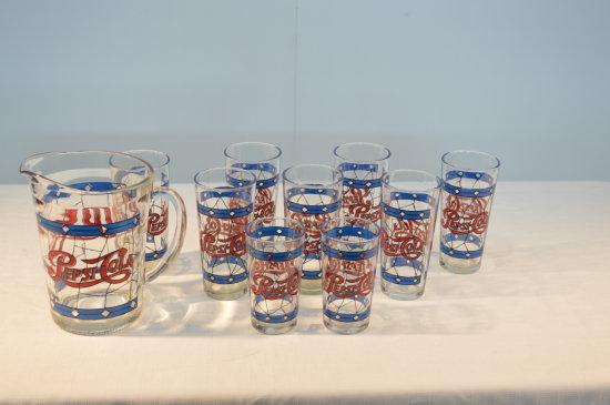 Pepsi Glass Pitcher, 7 Large Glasses & 2 Small