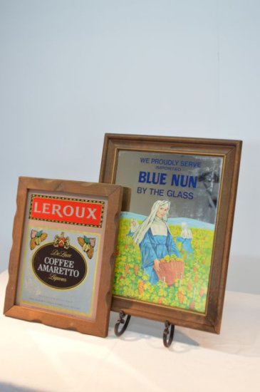 Leroux and Blue Nun Mirrored Advertisements