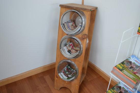 Magazine Rack & 3 Glass Jars