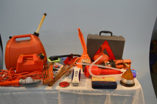 Car Safety Kit, First Aid Kit, Light, Gas Cans, Funnels